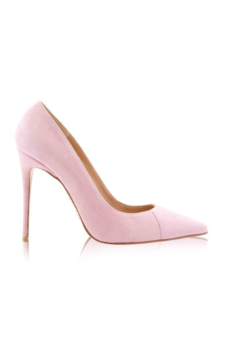 PARIS Suede Pink Patent Leather Pointy Toe Heels 5""