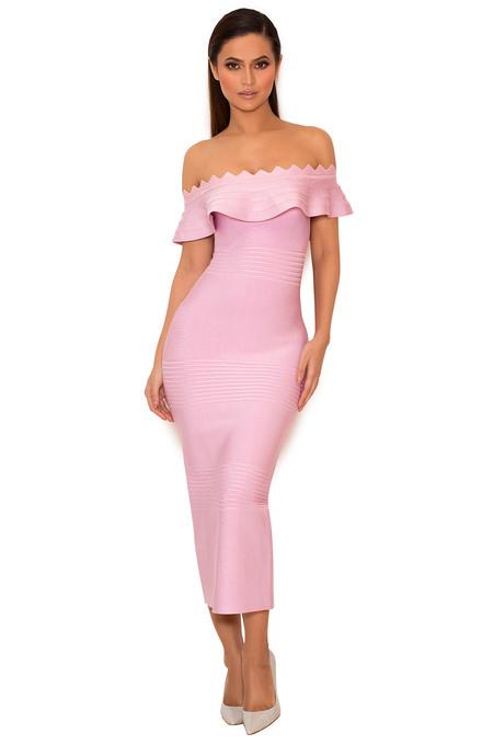 Amadea Lilac Fluted Off Shoulder Dress