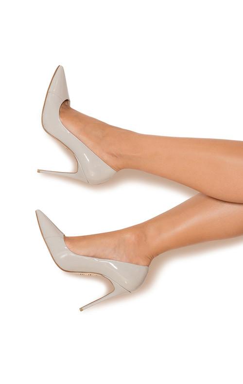 "PARIS Mink Patent Leather Pointy Toe Heels 5"""