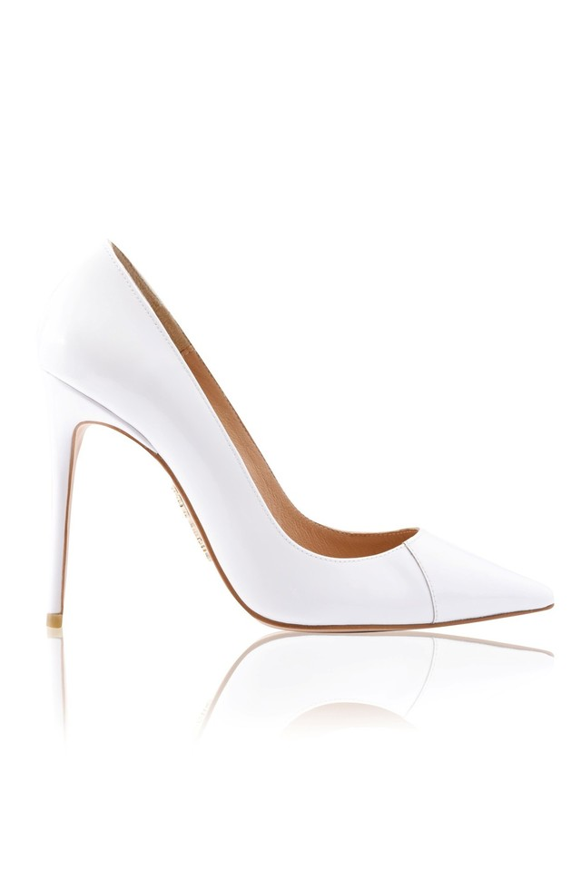 """PARIS White Patent Leather Pointy Toe Heels 4"""""""