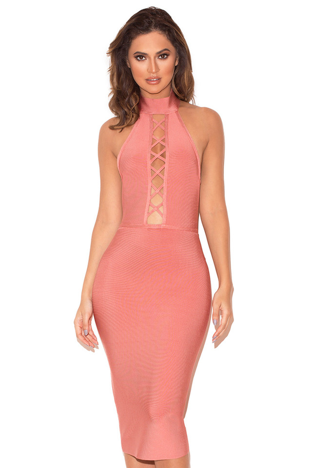 Taavi Rose Lace Up Bandage Dress