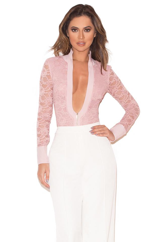 Paraisa Rose Pink Stretch Lace Zip Front Bodysuit