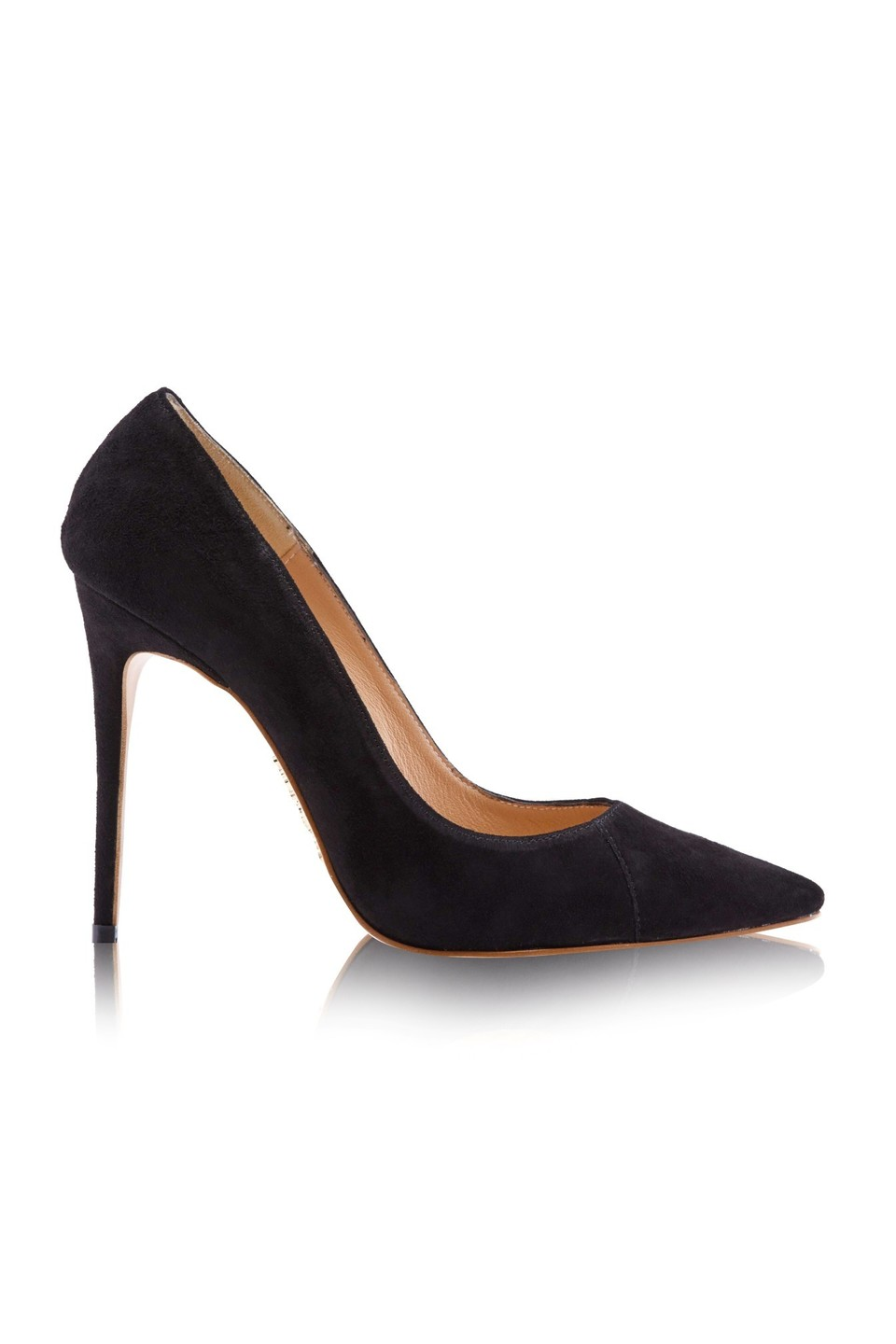 'PARIS' Suede Black Patent Leather Pointy Toe Heels 4""