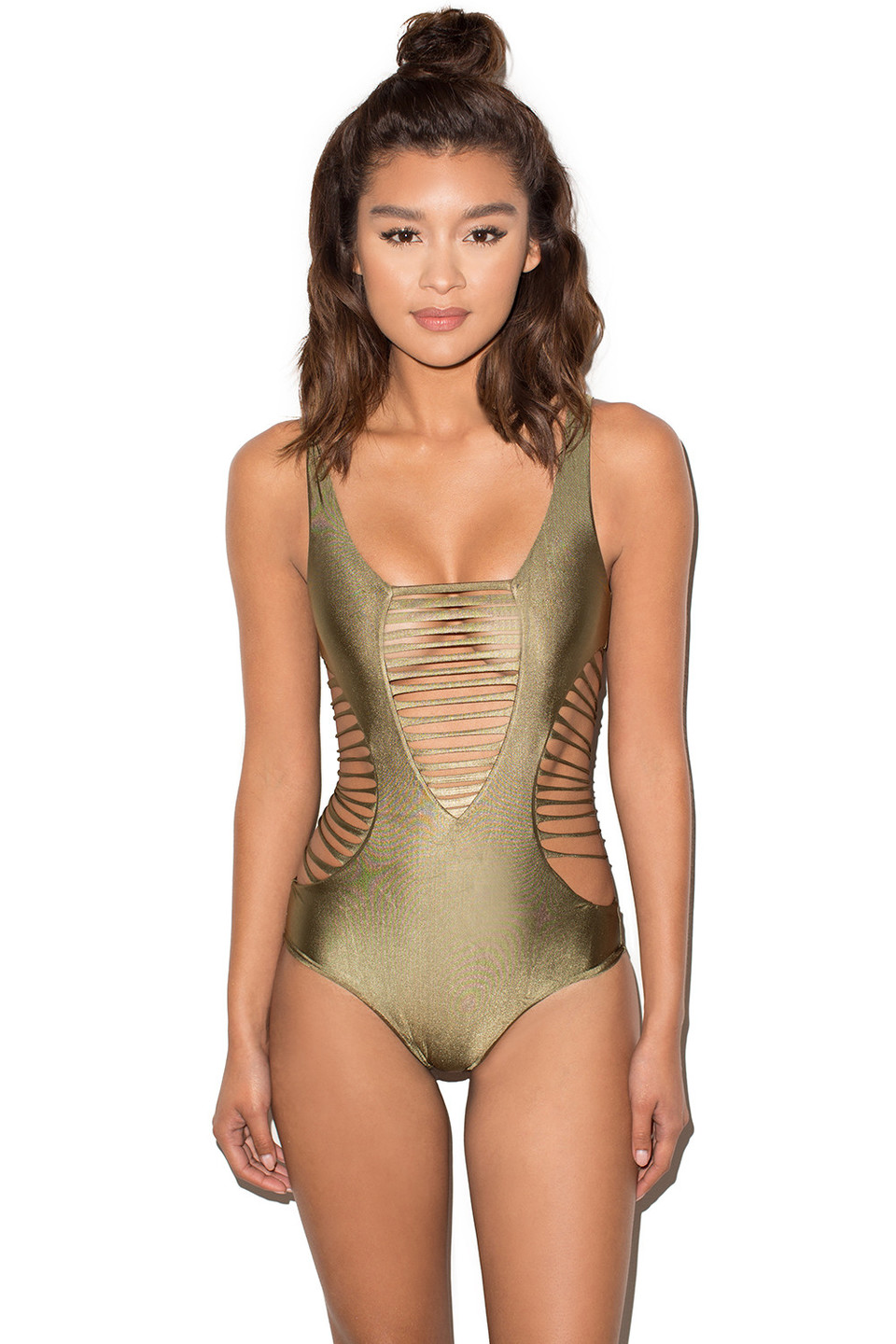 Amalfi Khaki Ladder Cut Out One Piece Swimsuit