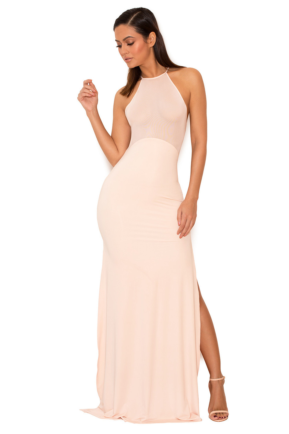 Aurelia Sheer Mesh Maxi Dress with Thigh Split