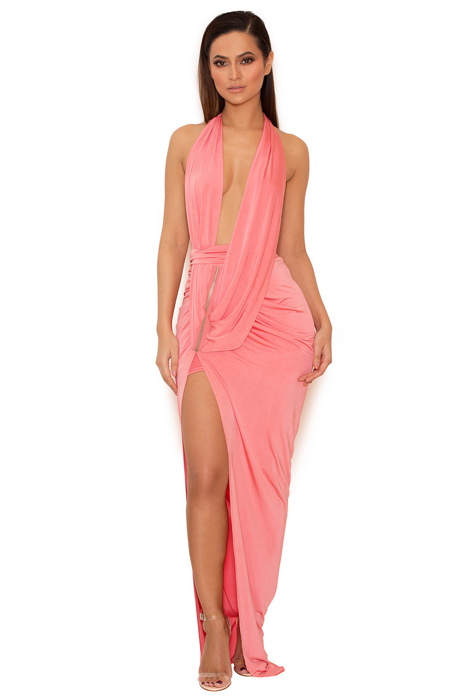 Febe Coral Draped Deep V Silky Jersey Maxi Dress