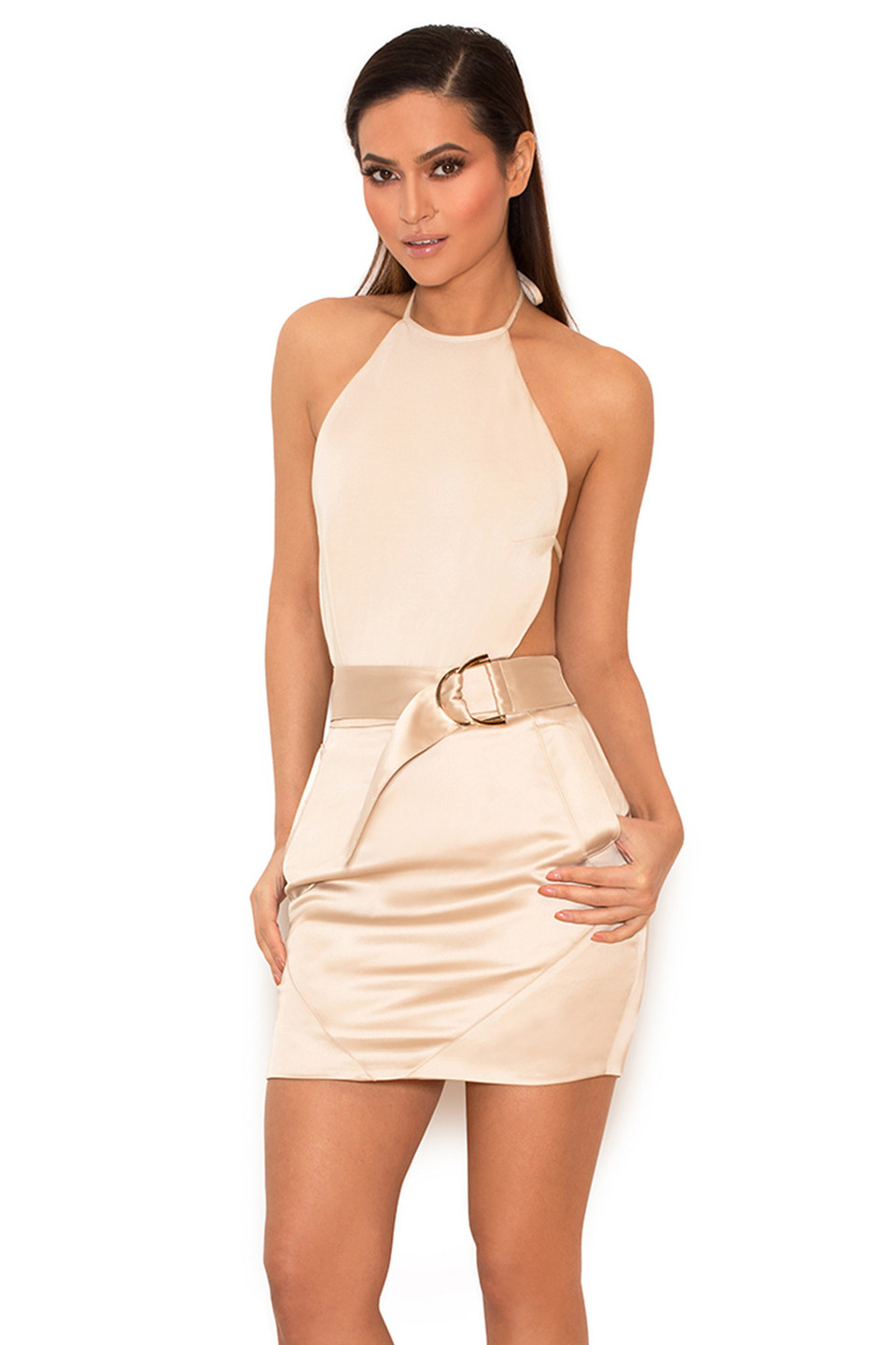 Jasina Metallic Oyster Backless Bodysuit