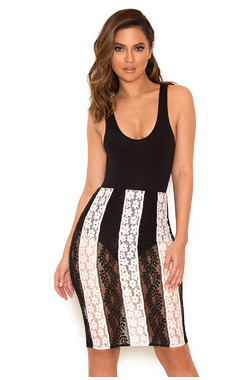 Abijah Black and White Lace Skirt with Shorties