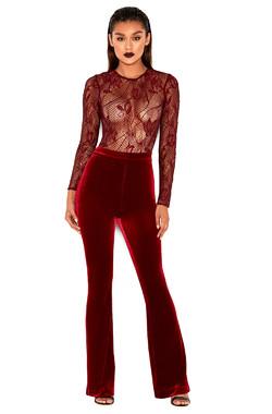 Adah Wine Velvet High Waist Pants