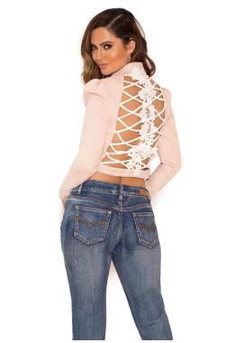 Dorion Blush Open Back Suedette Jacket