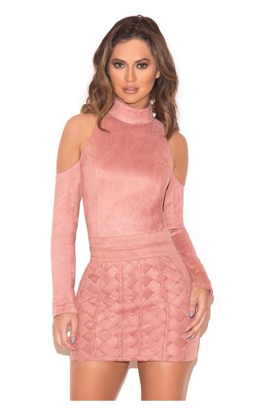 Cote Rose Suedette Woven Mini Skirt