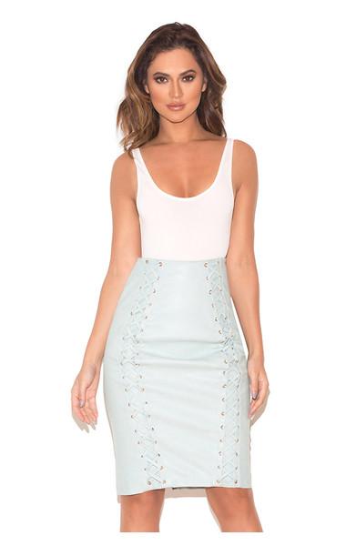 Toriola Powder Blue Vegan Leather Pencil Skirt