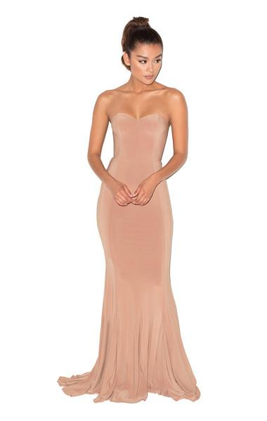 Torrea Camel Silky Jersey Strapless Maxi Dress