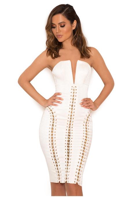 Alberta White Jacquard Strapless Dress