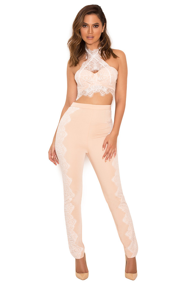 Clarice White and Nude Lace Two Piece Set