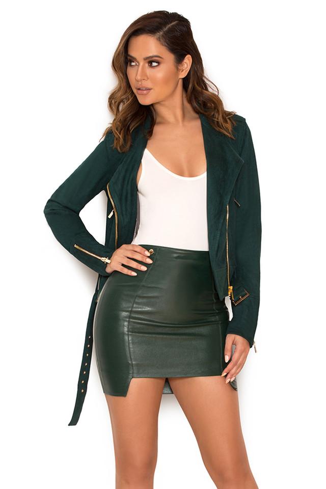 Piera Evergreen Vegan Leather Mini Skirt