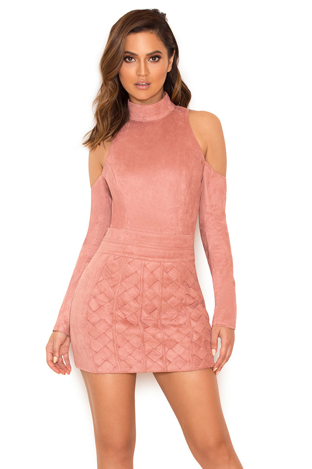 Marzia Dusty Pink Cold Shoulder Bodysuit