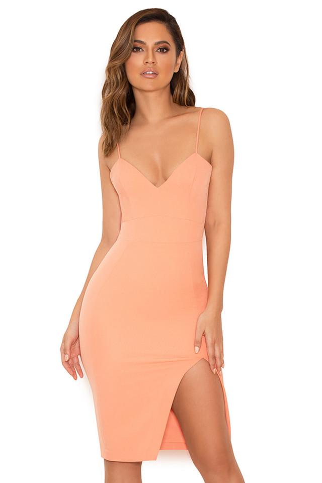 Raqa Peach Asymmetric Cut Bralet Dress