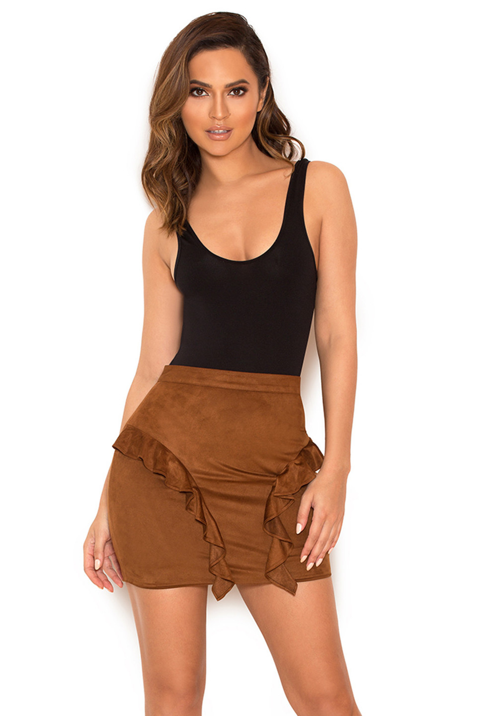 Lalia Tan Suedette Frilled Mini Skirt