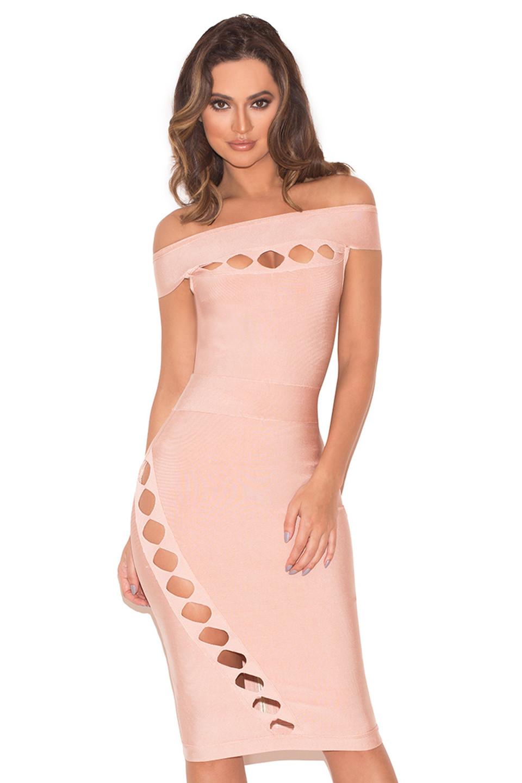 Ramah Blush Off Shoulder Bandage Cut Out Dress