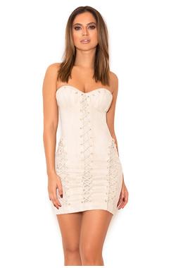 Irvina Dove Grey Suedette Strapless Bustier Dress