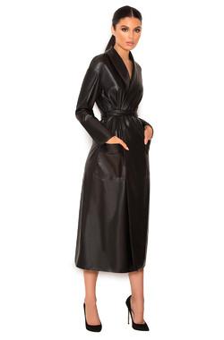 Meja Black Vegan Leather Self-Tie Trench Coat