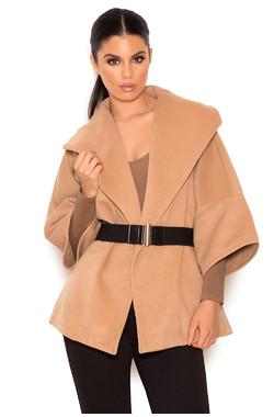 Sada Nude Wool Mix Oversized Wrap Coat