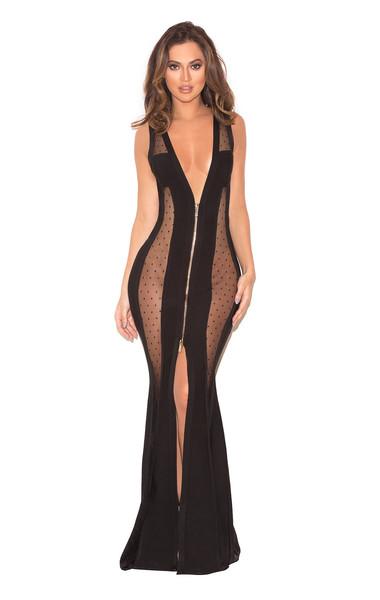 Margeaux Black Bandage and Mesh Maxi Dress