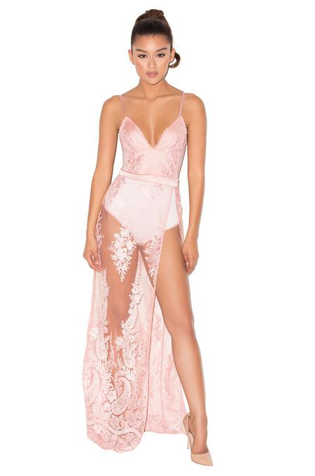 Lucia Rose Sheer Lace and Bandage Bodysuit Maxi Dress