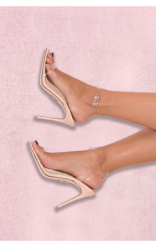 GHOST Clear Straps Nude Leather Sandals
