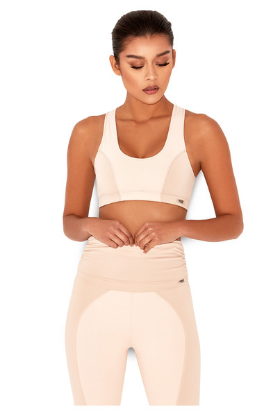 Breathe Nude & Blush Paneled Cropped Workout Top