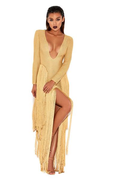 Dakota Gold Ribbon-Stitched Fringed Dress