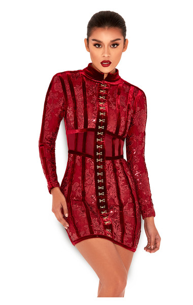 Gigi Deep Red Velvet and Lace Mini Dress