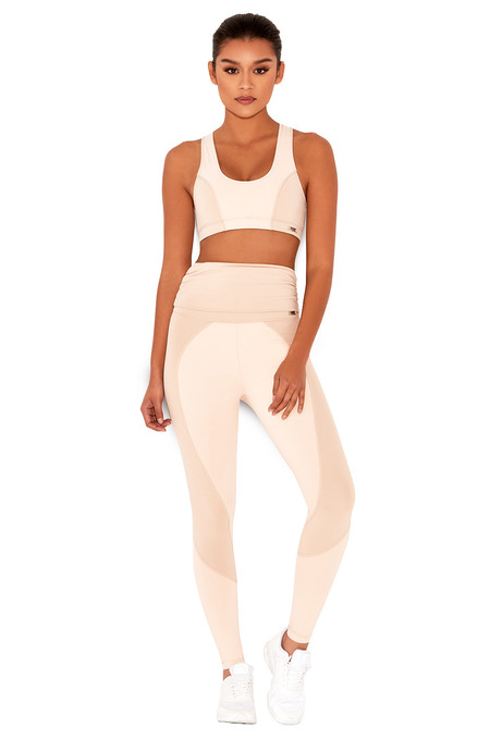 Chill Nude & Blush Workout Leggings with Fold Over Waistband