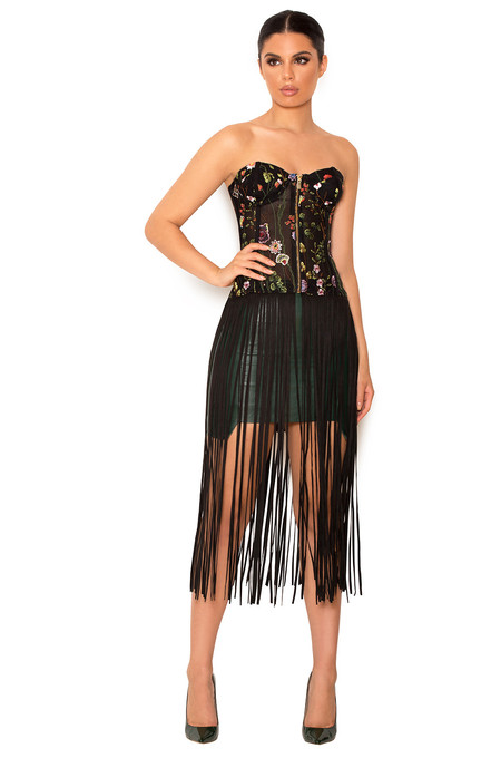 Carel Black Embroidered Fringed Bustier