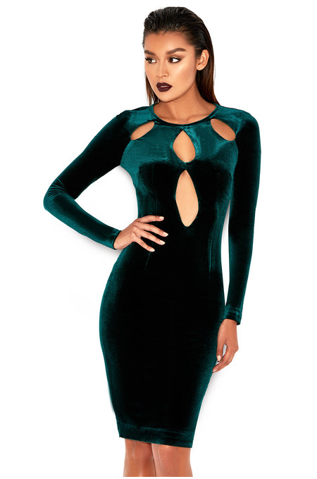 Denara Evergreen Stretch Velvet Cut Out Dress