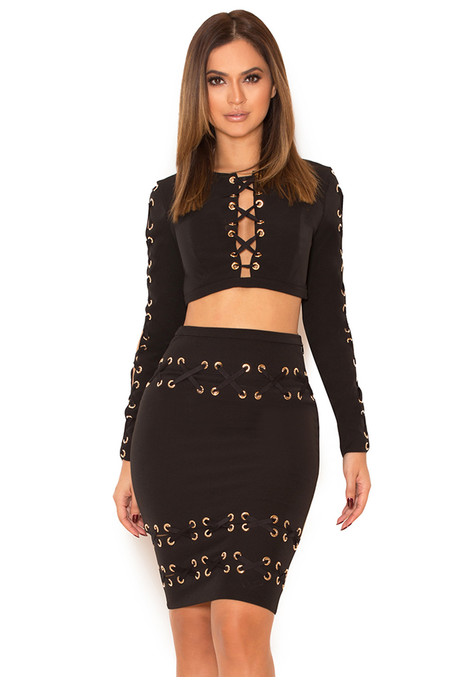 'Jared' Black Crepe Stretch Crepe Chain and Ribbon Two Piece Set B