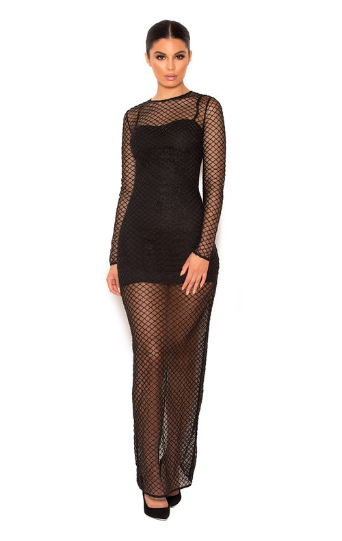 Nyla Black Crystal Encrusted Fishnet Maxi Dress with Under Garments