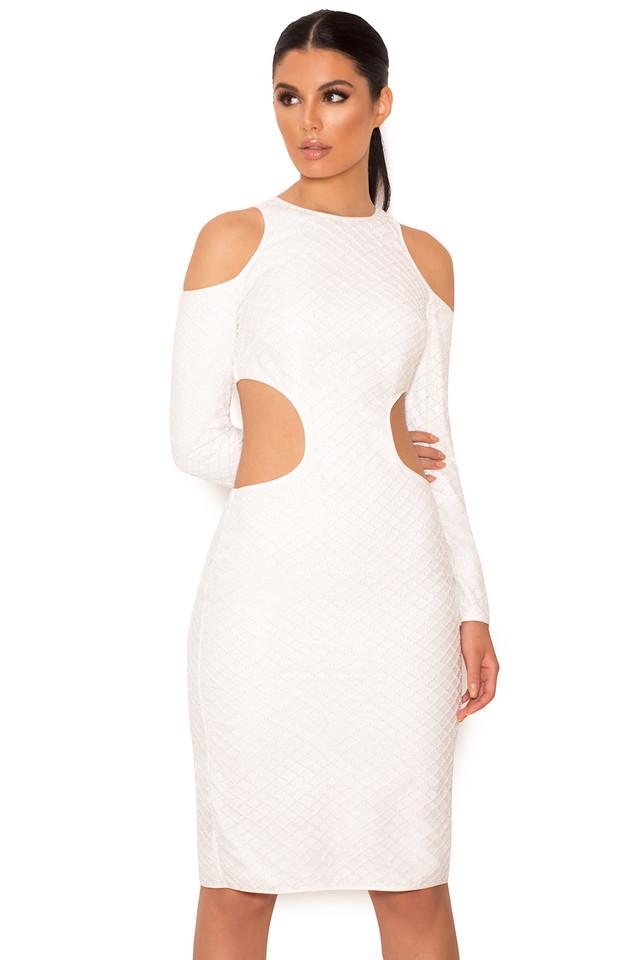 Ellisha Ivory Seed Bead Embellished Cut Out Dress