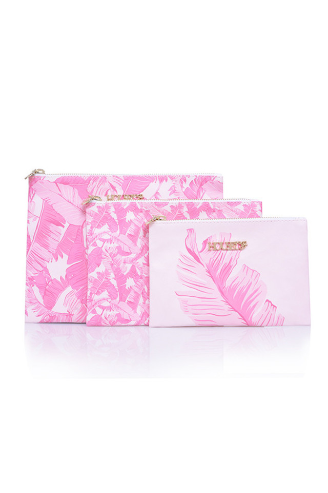Pink Fern Make Up Bag Trio
