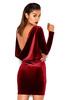 Annika Deep red Backless Draped Velvet Dress