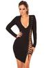 'Daniela' Black Lace Up Bandage Dress