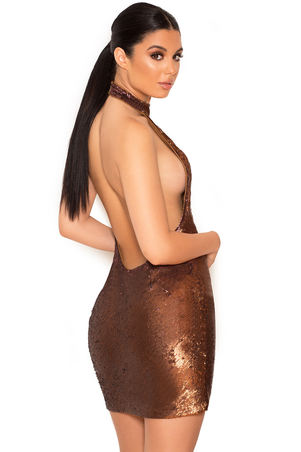 Dacia Brown Backless Micro Sequin Mini Dress
