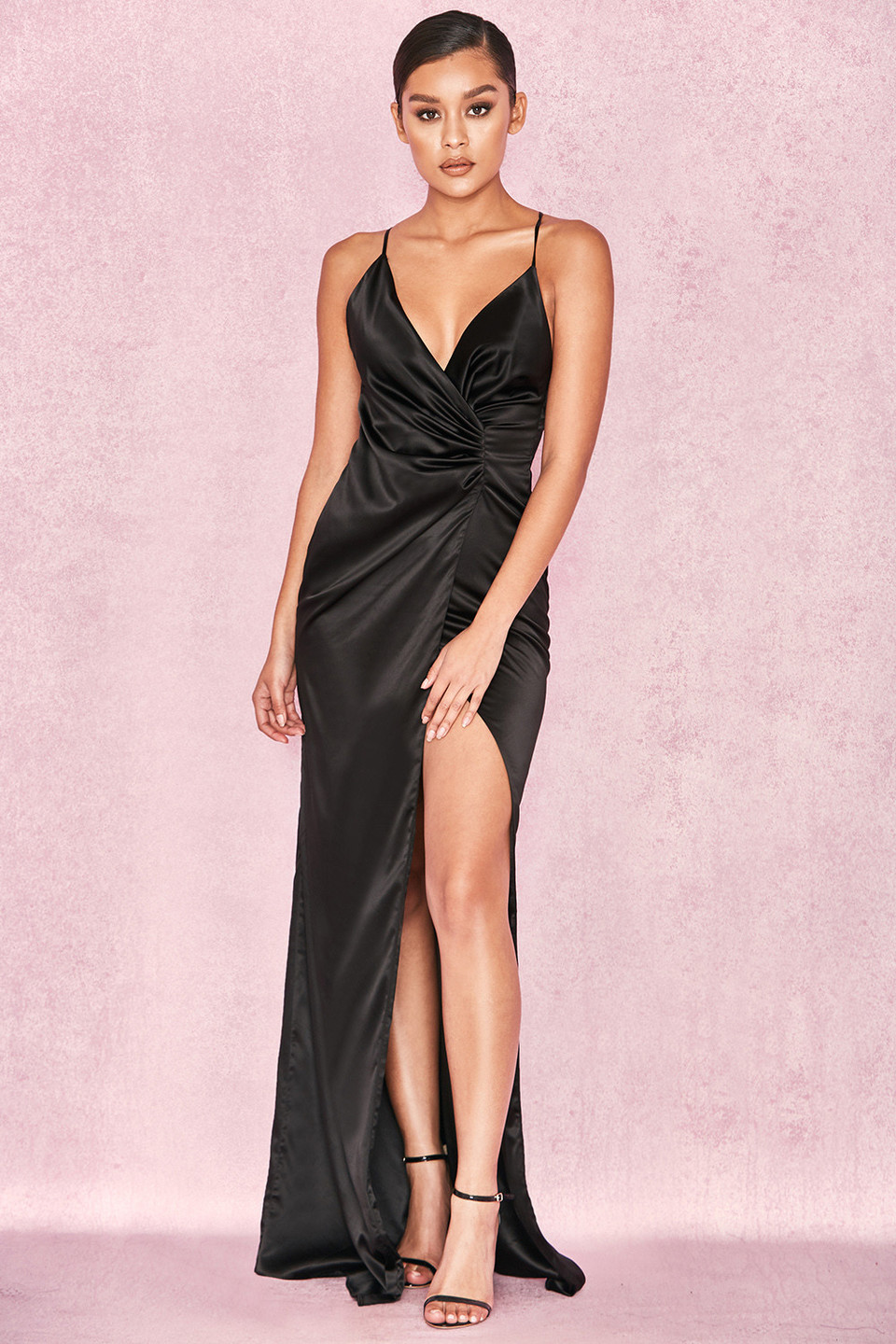 Fairuz Black Draped Satin Maxi Gown