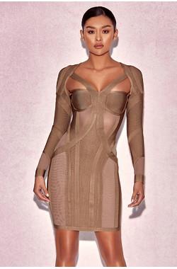 Rosliza Taupe Mini Bandage Dress