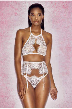 Millicent White Cut Away Lace Bra