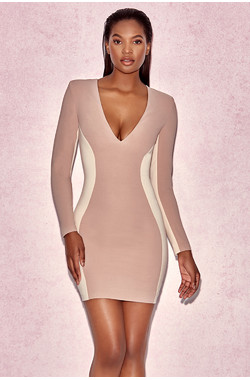 Felicity Two Tone Nude Illusion Dress