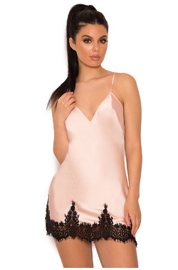 Felinda Dusty Pink & Black Satin & Lace Night Slip
