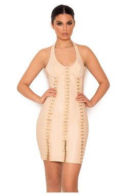 Leda Nude Vegan Leather Hook and Eye Dress
