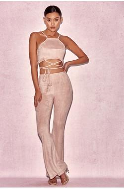 Marchesa Blush Suedette Two Piece Trouser Suit